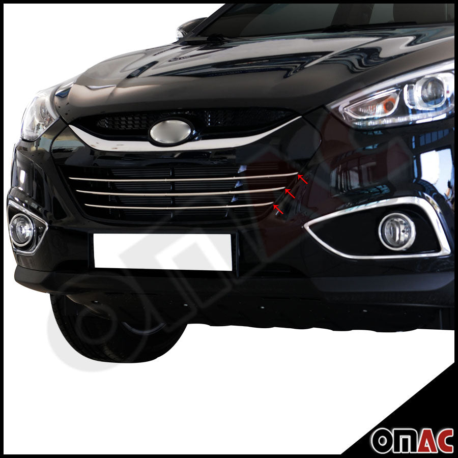 Fits Hyundai Tucson 2010-2015 Chrome Front Bumper Grill Stainless Trim 3 Pcs