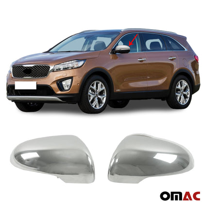 Omac usa - Chrome Side Mirror Cover Cap Trim SET 2 Pcs. S. Steel for KIA SORENTO 2016-2019 - Omac Shop Usa - Auto Accessories