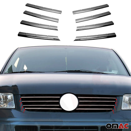 Dark Chrome Front Grill Trim S.Steel 8 Pcs. For VW T5 Transporter 2003-2010