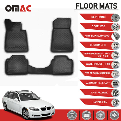 Floor Mats Liner 3D Molded Black Fits BMW 3 Series E91 Wagon 2006-2012