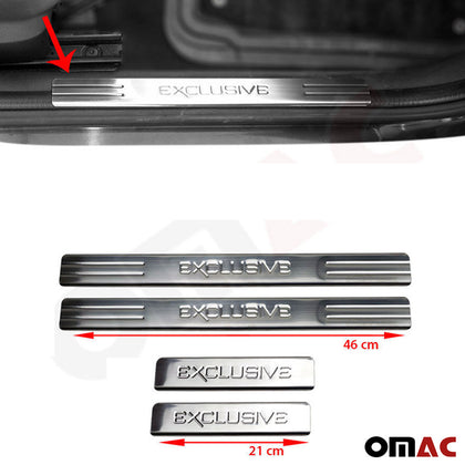Fits Mini Cooper 2006-2013 Chrome Exclusive Door Sill Scuff Plate S.Steel 4 Pcs Omac Shop Usa - Auto Accessories
