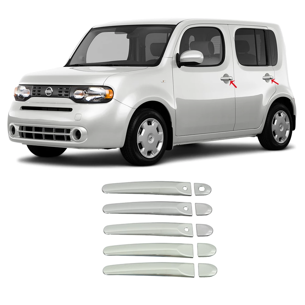 Chrome Door Handle Cover Trim W/ Sensor S.Steel 10 Pcs For Nissan Cube 2009-2014