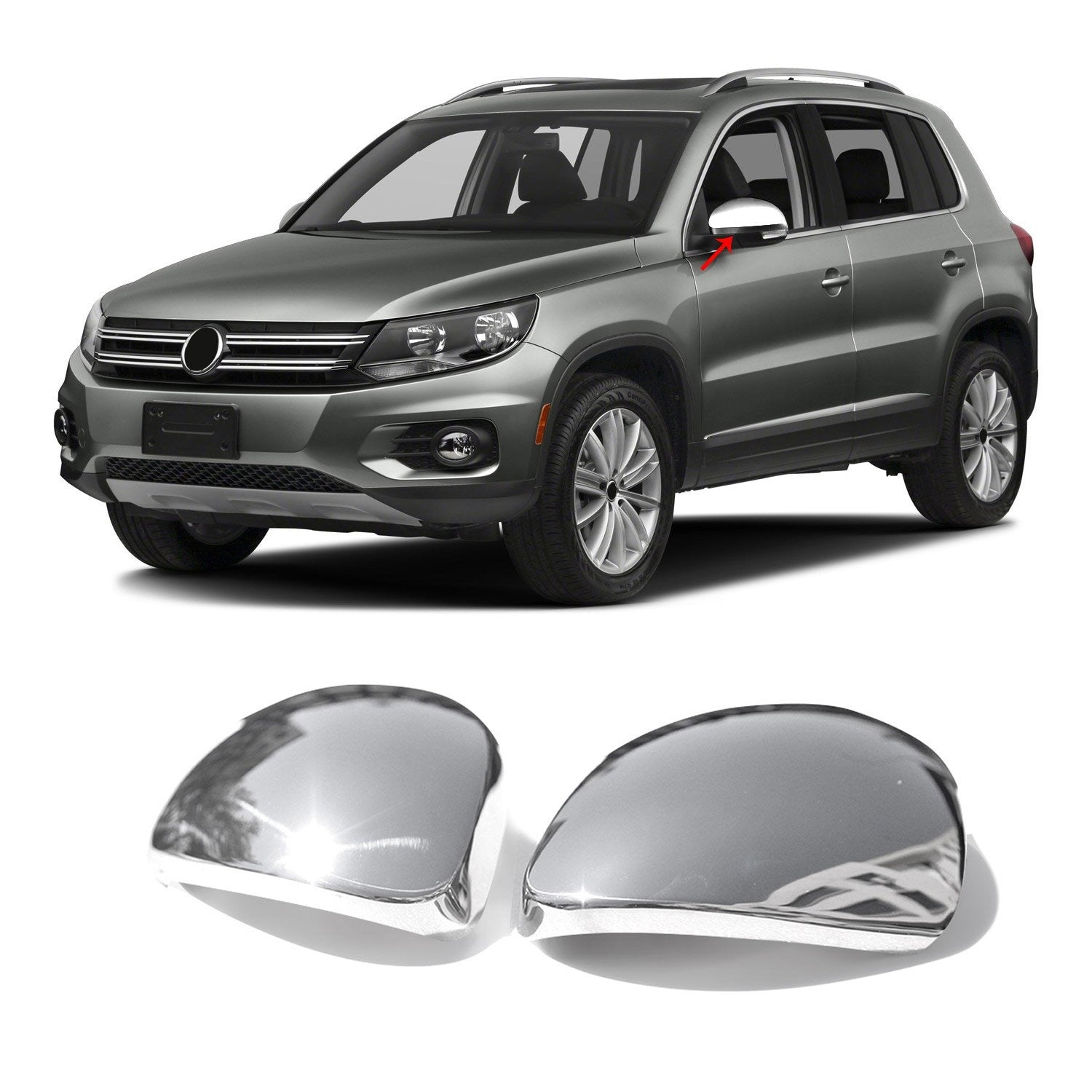 Fits VW Tiguan 2009-2016 Stainless Steel Chrome Side Mirror Cover Cap 2 Pcs