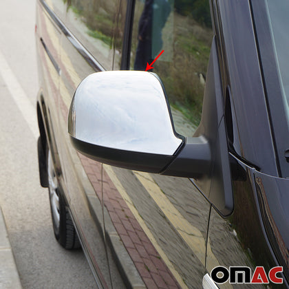 Fits VW Transporter 2010-2015 Chrome Side Mirror Cover Cap 2 Pcs Omac Shop Usa - Auto Accessories