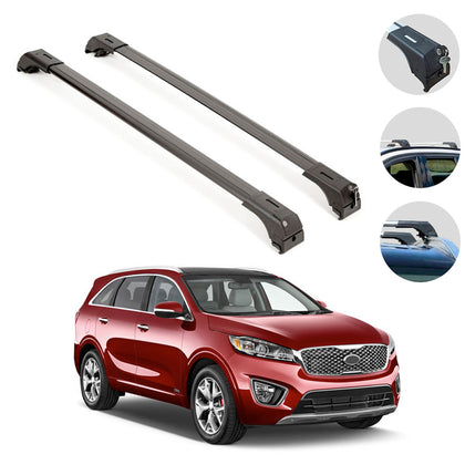 Roof Rack Cross Bars Luggage Carrier Aluminum Black Fits Kia Sorento 2014-2015