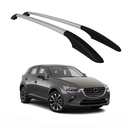 Top Roof Rack Side Rails Bars Alu Silver For Mazda CX-3 2016-2021