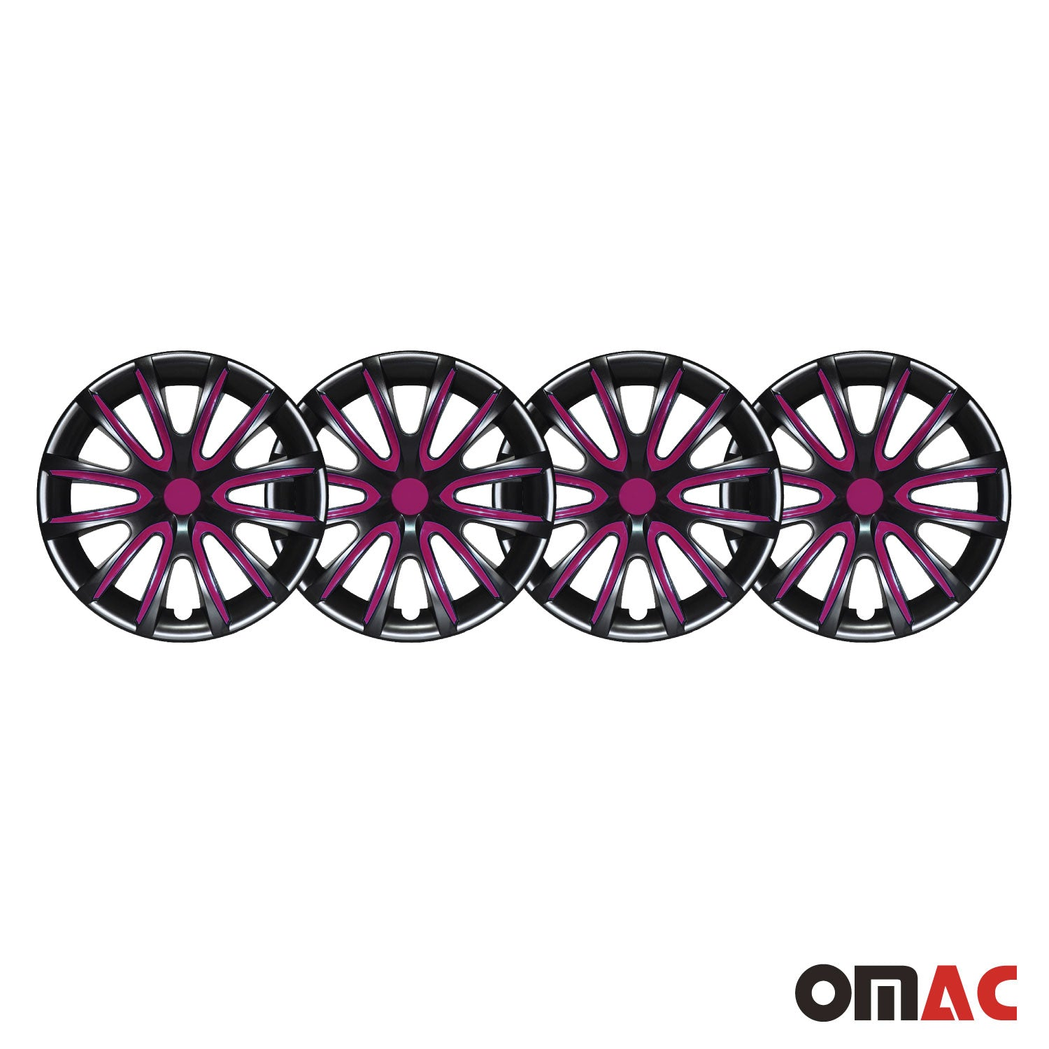 "15"" Inch Hubcaps Wheel Rim Cover Glossy Black with Violet Insert 4pcs Set"