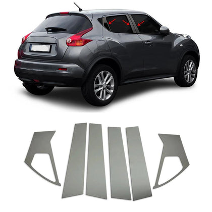 Fits Nissan Juke 2011-2017 Dark Chrome Window Plate B Pillar Trim S.Steel 6 Pcs Omac Shop Usa - Auto Accessories