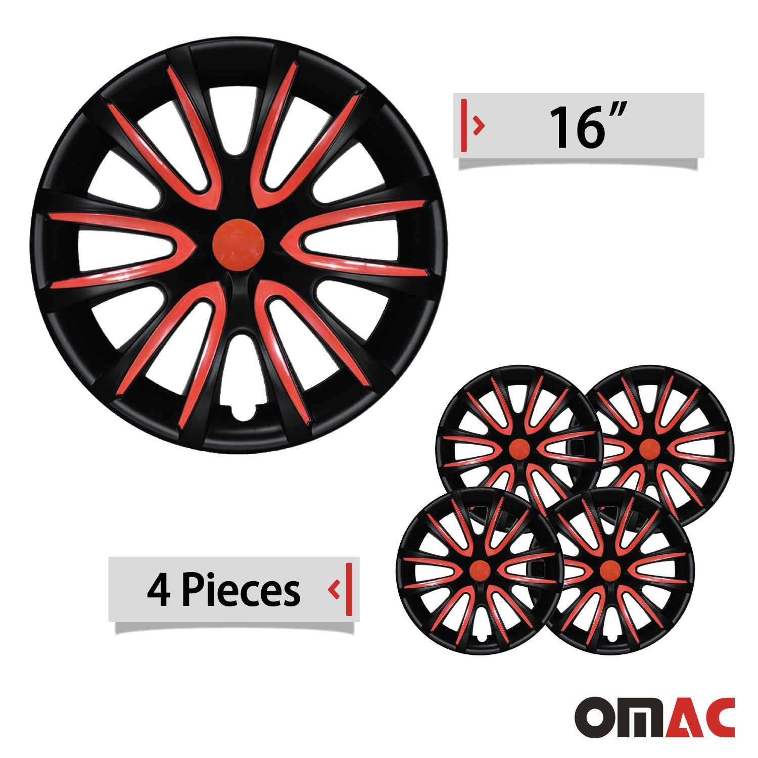 "16"" Inch Hubcaps Wheel Rim Cover Matt Black with Red for Ford Ranger Set"