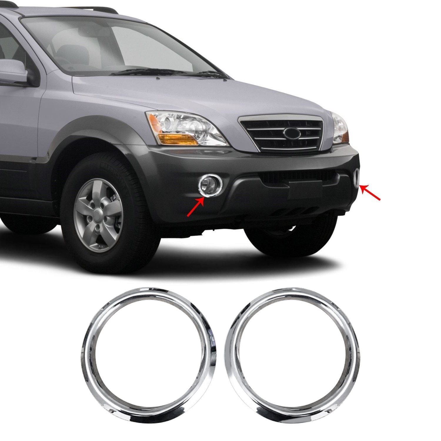 Chrome Fog Light Surround Lamp Trim Steel for Kia Sorento 2003-2010