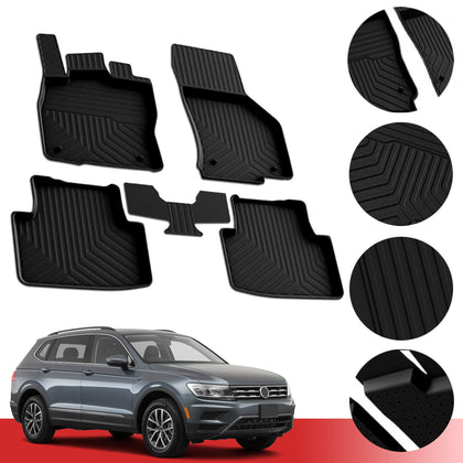 Floor Mats Heavy Duty Rubber Protection Liner For Volkswagen Tiguan 2018-2020