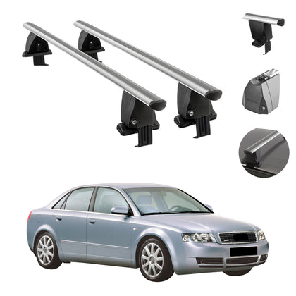 Silver Smooth Top Roof Rack Cross Bar Cargo Carrier For Audi A4 Sedan 2002-2004