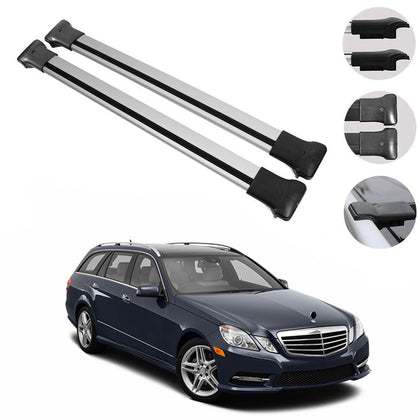 Roof Rack Cross Bars Luggage Carrier Silver For MB E Class S212 Wagon 2010-2016