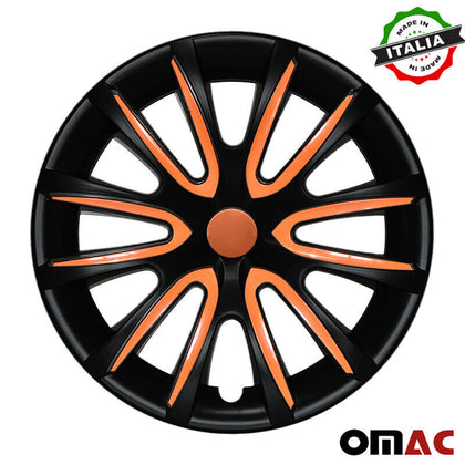 16 Inch Hubcaps Wheel Rim Cover Matt Black with Orange for Chevrolet Impala Set Omac Shop Usa - Auto Accessories