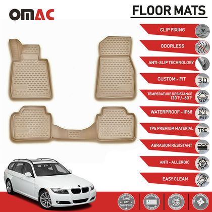 Floor Mats Liner Tan 3D Molded For BMW 3 Series E91 Wagon 2006-2012