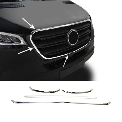 Fits Mercedes Sprinter 2019-2020 Chome Front Grill Trim Frame Stainless 4 Pcs Omac Shop Usa - Auto Accessories