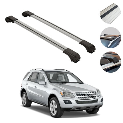 Roof Rack Cross Bars Luggage Carrier Silver Fits Mercedes ML 164 2006-2011