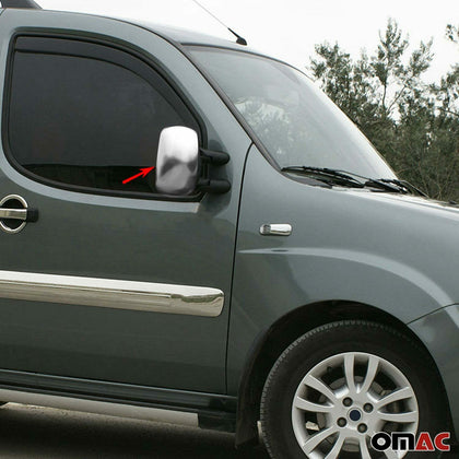 Satin Chrome Side Mirror Cover Cap 2 Pcs For Fiat Doblo 2000-2010