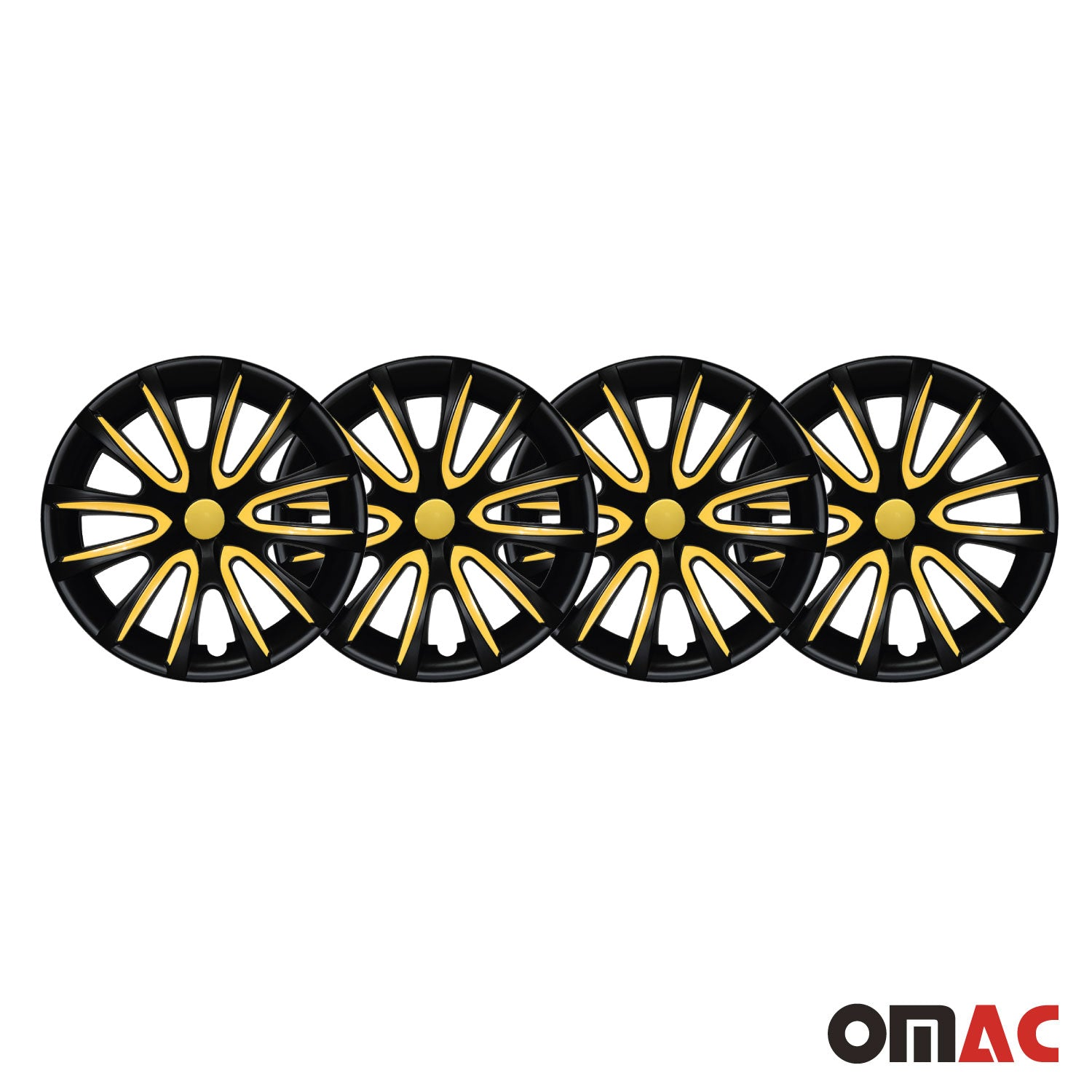 "15"" Inch Hubcaps Wheel Rim Cover Matt Black with Yellow Insert 4pcs Set"