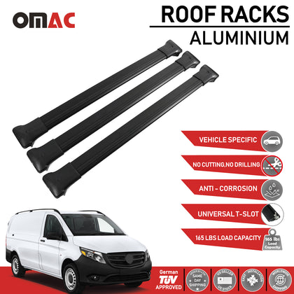 Roof Rack Cross Bars Luggage Carrier Set for Mercedes Vito W447 2014-2020