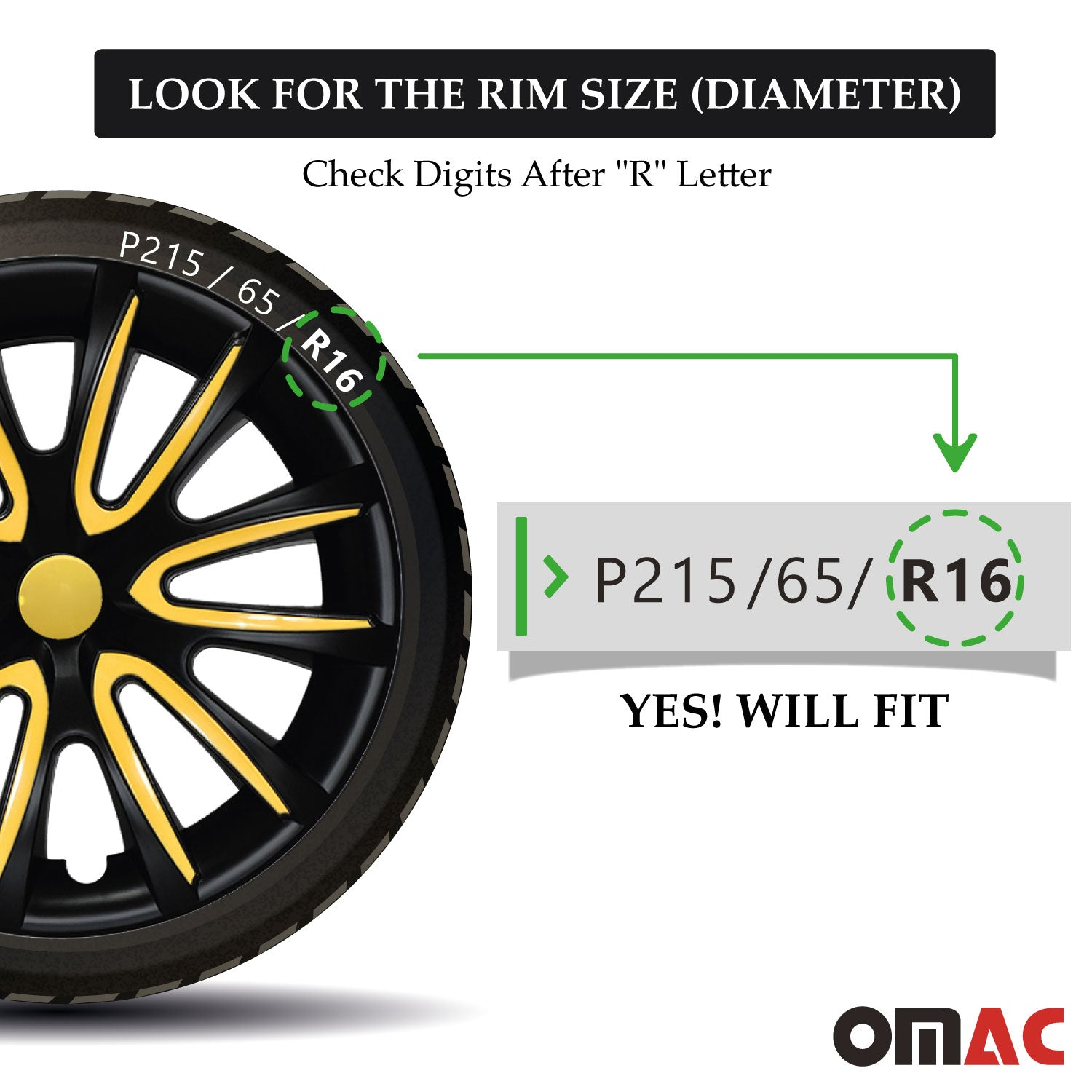 "16"" Inch Hubcaps Wheel Rim Cover Matt Black with Yellow for Jeep Renegade Set"