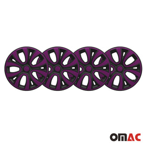 "Hub Cap 14"" Inch Wheel Rim Cover Matt Black with Violet Insert 4pcs Set"