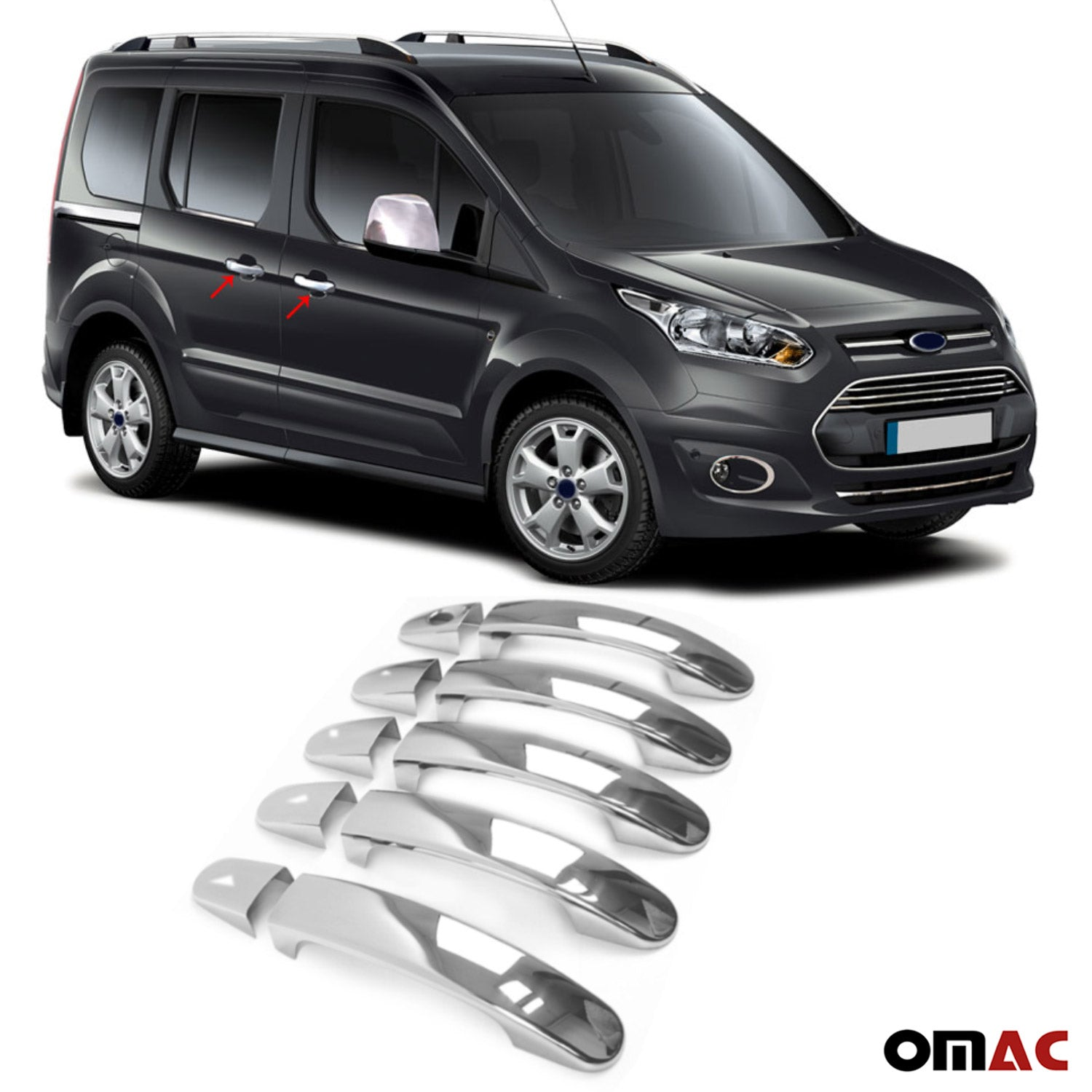 Fits Ford Transit Connect  2014-2020 Chrome Door Handle Cover Trim Steel 10 Pcs