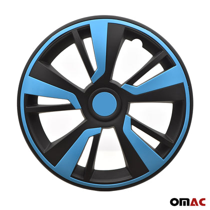 16'' Hubcaps Wheel Rim Cover Matt Black with Blue Insert 4pcs Set