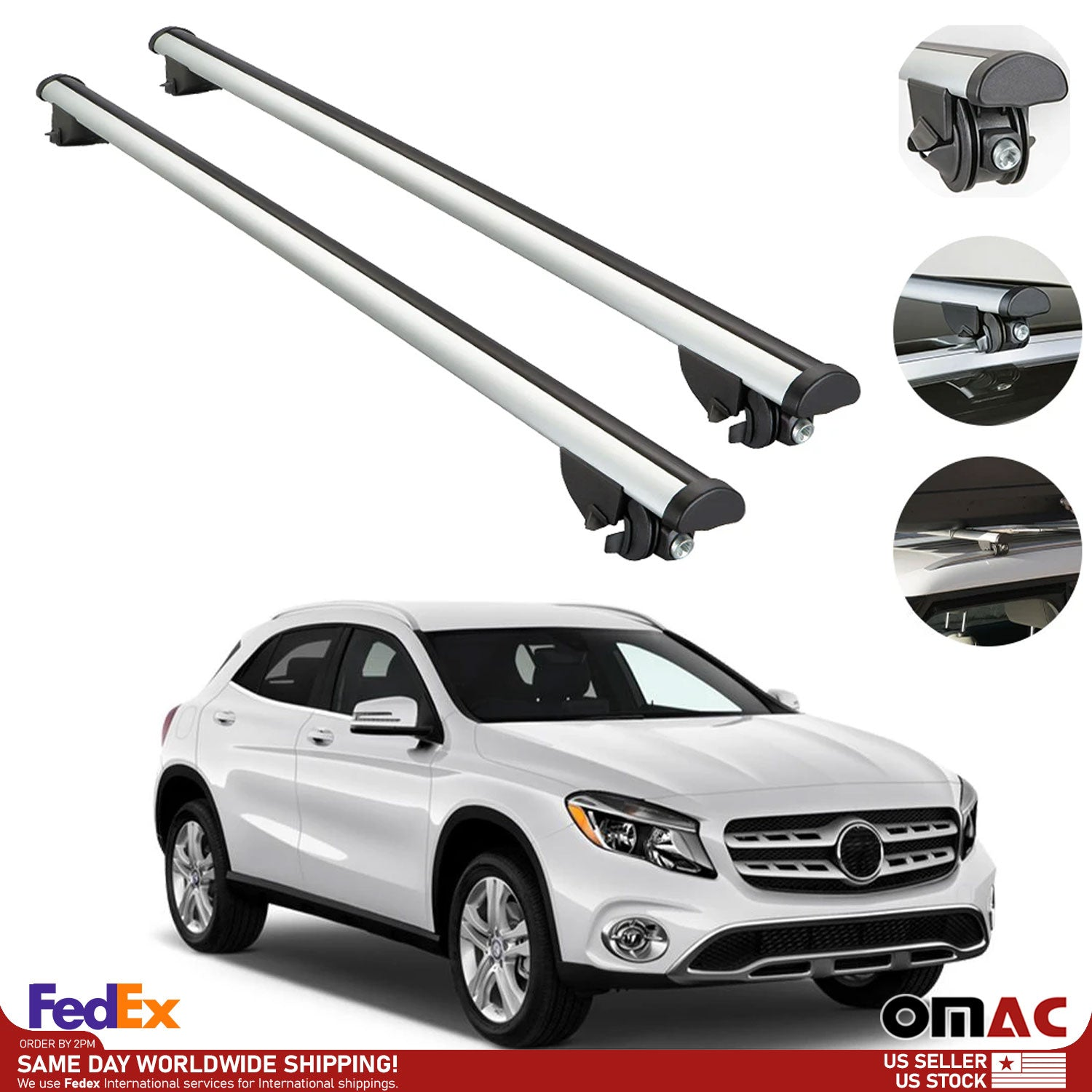 Roof Rack Cross Bars Luggage Carrier Silver Set for Mercedes GLA 2014-2019