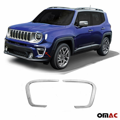 Chrome Front Fog Light Surround Lamp Cover 2 Pcs Steel for Jeep Renegade 2019-20