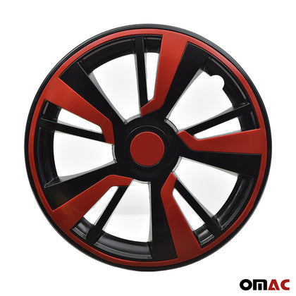 15'' Hubcaps Wheel Rim Cover Black with Red Insert 4pcs Set For Audi