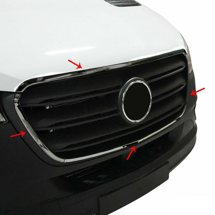 Fits Mercedes Sprinter 2019-2020 Chrome Front Grill Frame Trim Stainless Steel