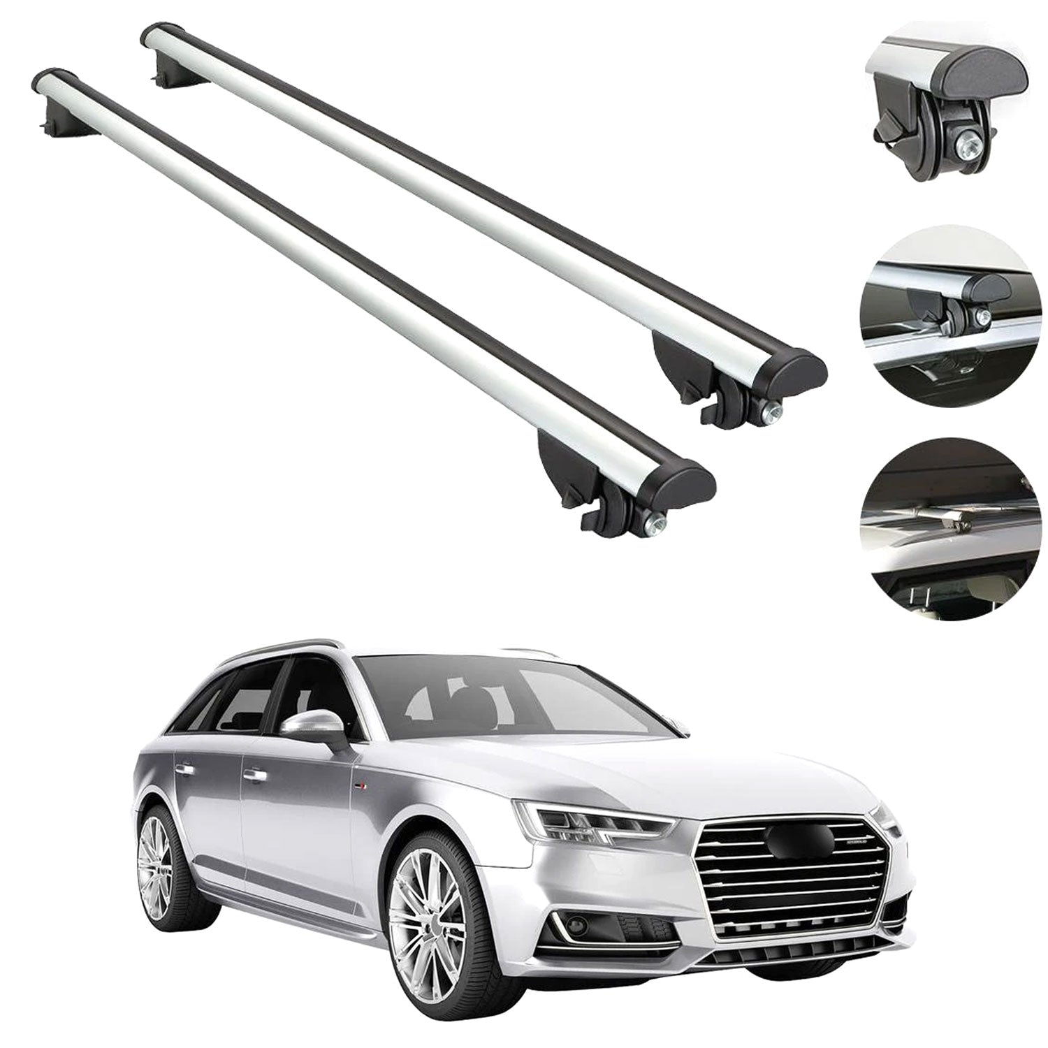 Cross Bars Roof Rack Luggage Carrier Silver Aluminum For Audi A4 Wagon 2009-2016