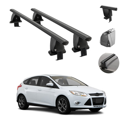 Fits Ford Focus Hatchback 2012-2018 Smooth Roof Rack CrossBar Carrier Rail Black