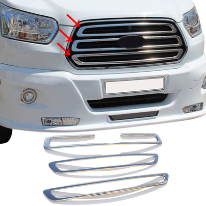 Front Bumper Grille Chrome S. Steel Trim Cover For Ford Transit 2014-2019