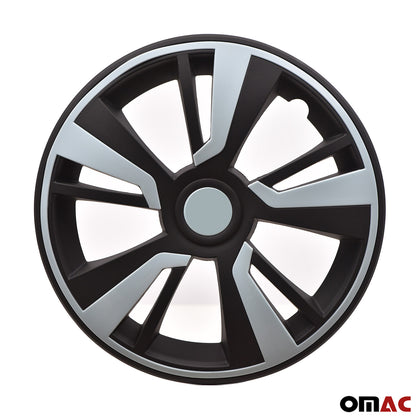 16'' Hubcaps Wheel Rim Cover Matt Black with Light Blue Insert 4pcs Set