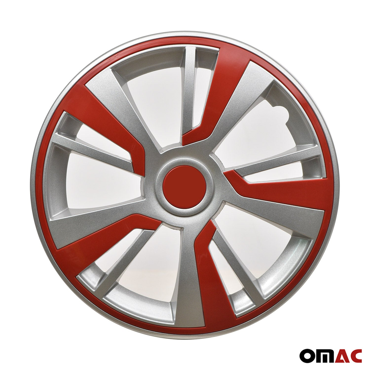 15'' Hubcaps Wheel Rim Cover Grey with Red Insert 4pcs Set
