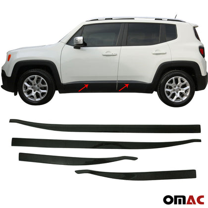 For JEEP Renegade 2018-2020 Genuine Carbon Fiber Side Door Streamer Trim 4 Pcs