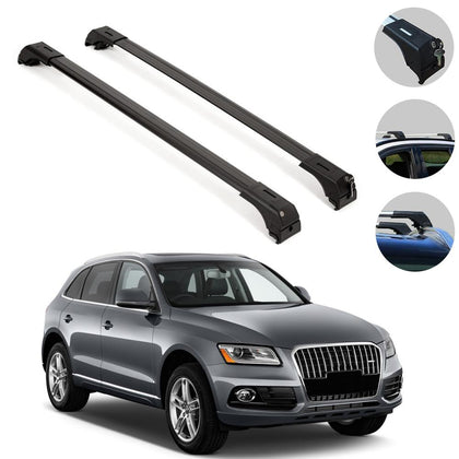 Roof Rack Cross Bars Luggage Carrier Black for Audi SQ5 2009-2017