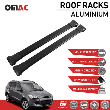 Fits Ford Escape 2013-2019 Roof Rack Cross Bars Luggage Carrier Alu Black