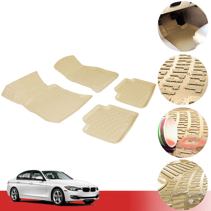 Floor Mats Liner Tan 3D Molded 4 Pcs. Fits BMW 3 Series F30 Sedan 2012-2020