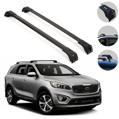 Roof Rack Cross Bars Luggage Carrier 2 Pieces Black Fits Kia Sorento 2016-2020