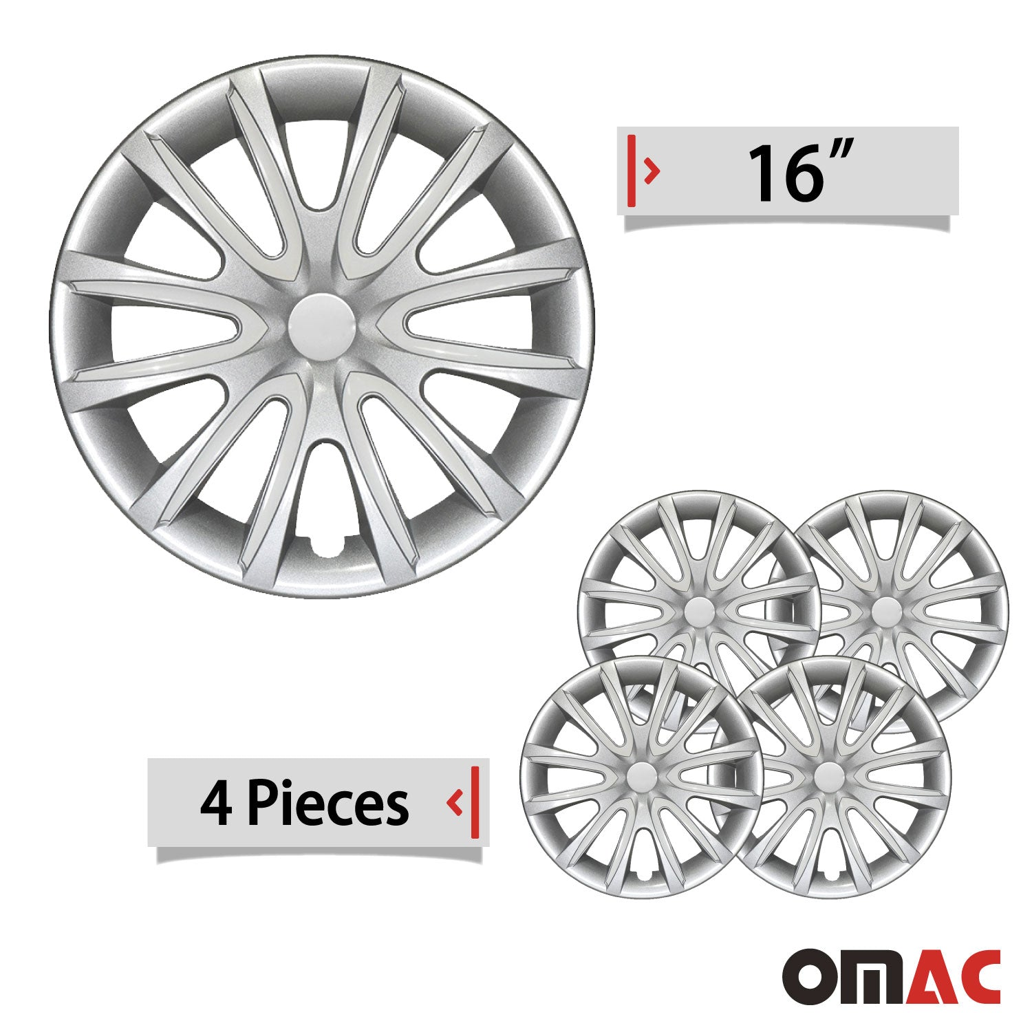 "16"" Inch Hubcaps Wheel Rim Cover Gray & White For Jeep Grand Cherokee Set"