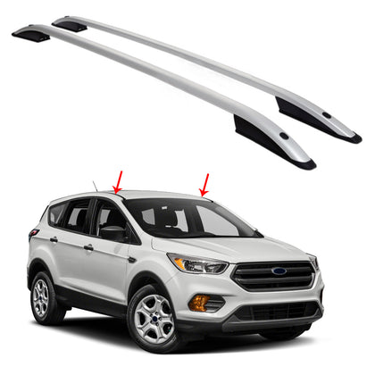 Top Roof Rack Side Rails Bars Aluminum Silver 2 Pcs. for Ford Escape 2013-2019