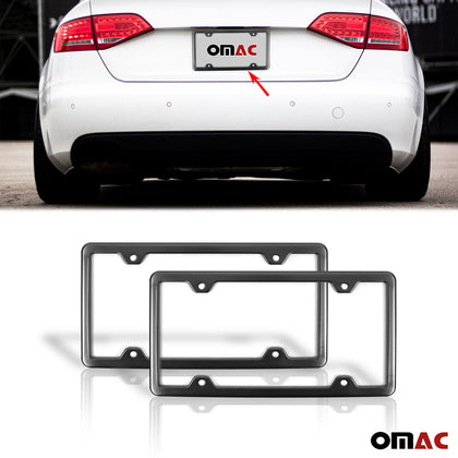 2 Pcs Brushed Dark Chrome S. Steel License Plate Frame Fits Audi Q7