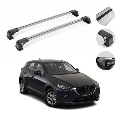 Roof Rack Cross Bars Luggage Carrier Silver Set Alu for Mazda CX-3 2016-2021