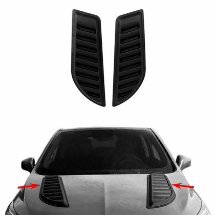 Decorative Air Flow Intake Scoop Bonnet Vent Hood 2 Pcs Black