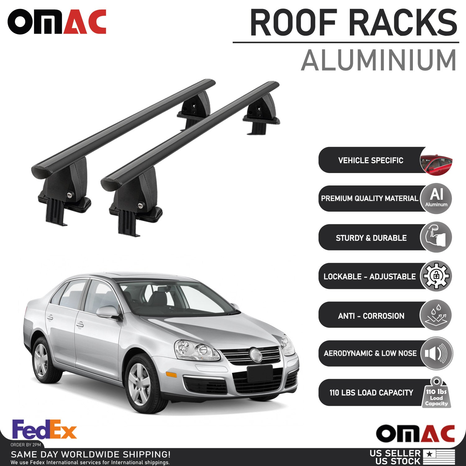 Fits VW Jetta Sedan (A5) 2005-2010 Smooth Roof Rack Cross Bar Carrier Rail Black
