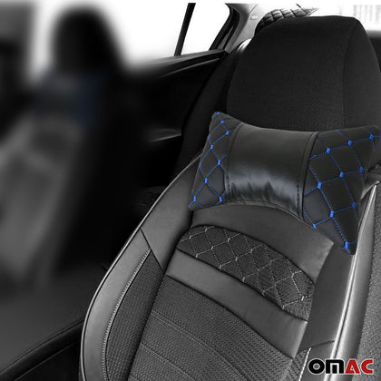 1x Car Seat Neck Pillow Head Shoulder Rest Pad PU Leather Black Blue Stitches