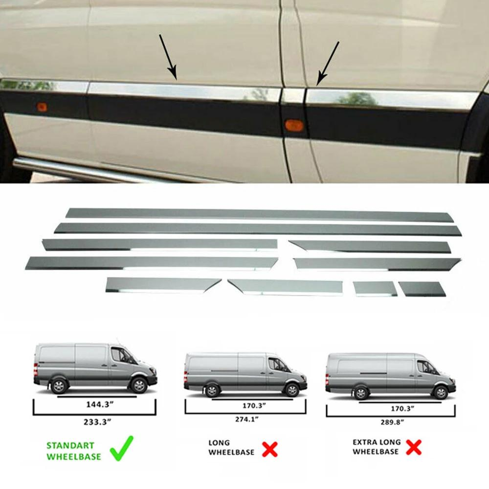 "Fits Dodge MB Sprinter 2007-2018 Chrome Side Door Trim Streamer Standard (144"")"